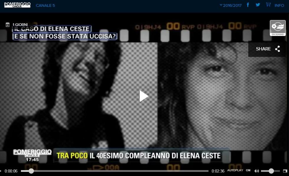 Pomeriggio 5 Inchiesta Elena Ceste